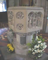 Photograph of a font in a church