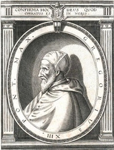 Etching of  Pope Gregory thirteenth