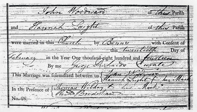 Marriage certificate of John Woodward and Hannah Laight